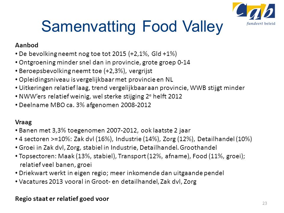 Samenvatting Food Valley