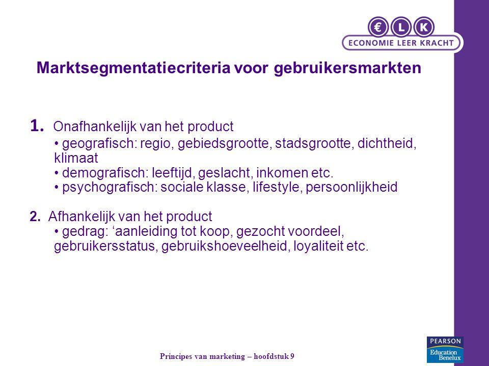 Marktsegmentatiecriteria voor gebruikersmarkten