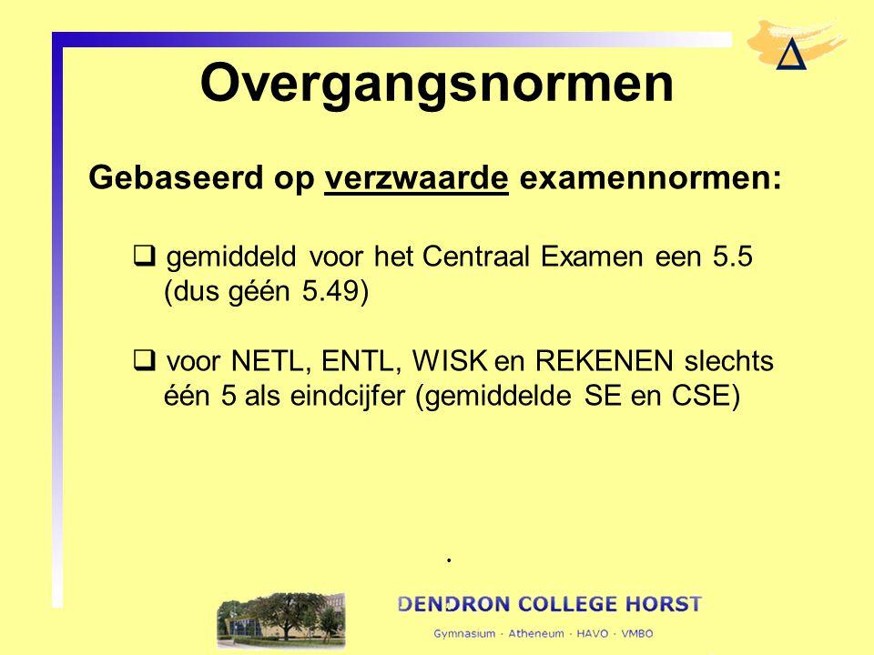 Overgangsnormen Gebaseerd op verzwaarde examennormen:
