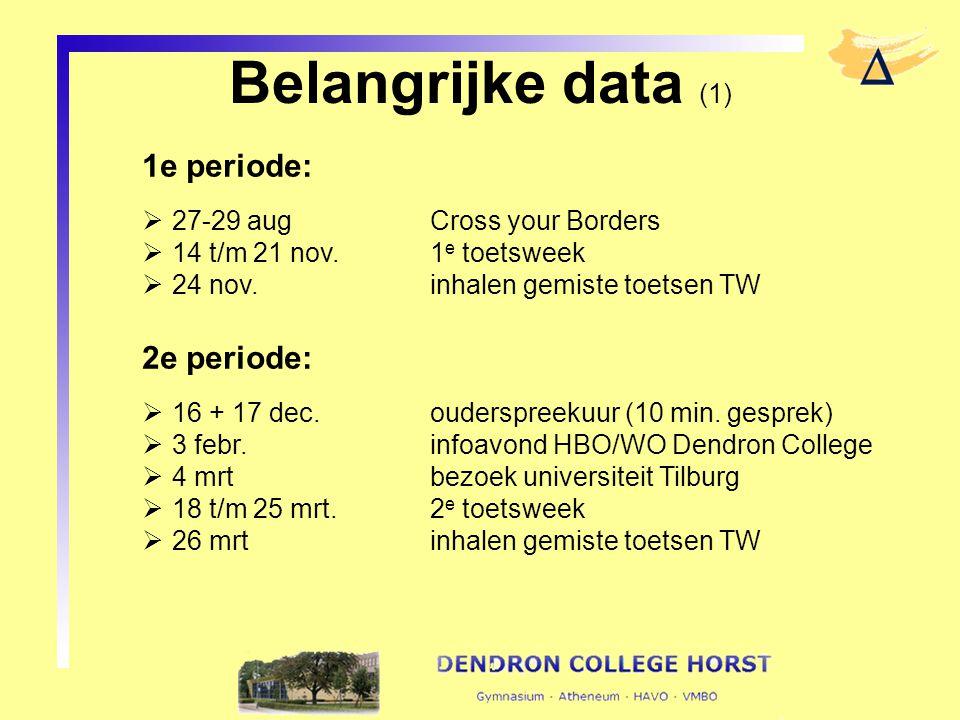 Belangrijke data (1) 1e periode: 2e periode: