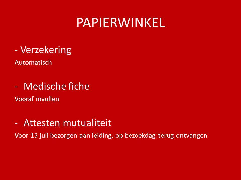 PAPIERWINKEL - Verzekering Medische fiche Attesten mutualiteit