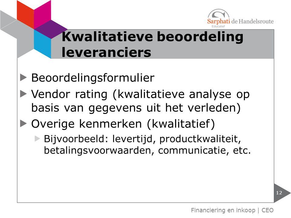 Kwalitatieve beoordeling leveranciers