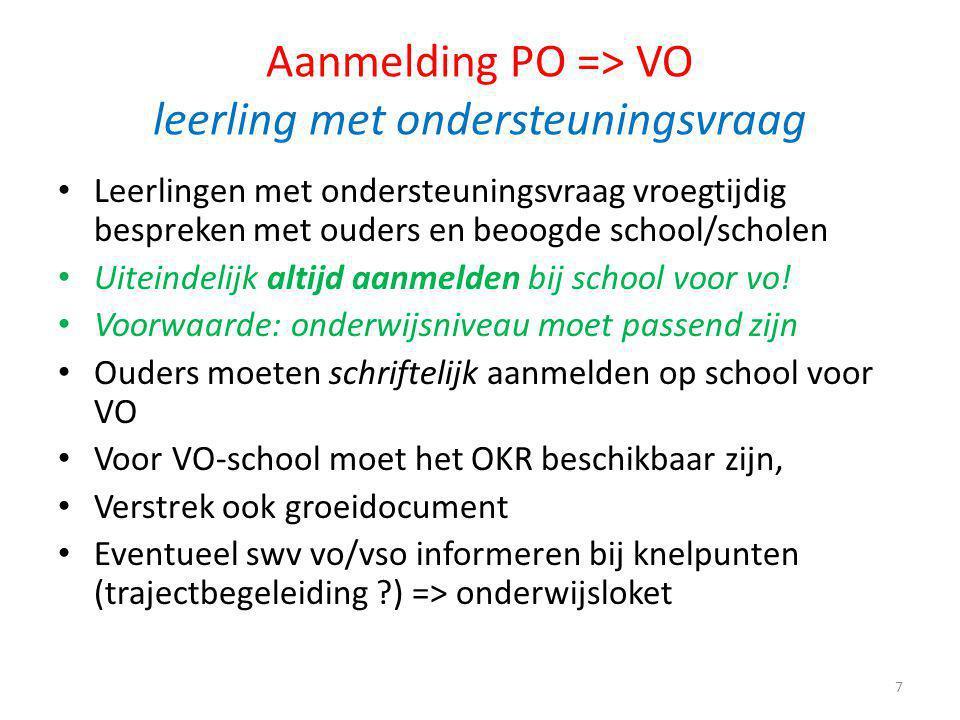 Aanmelding PO => VO leerling met ondersteuningsvraag