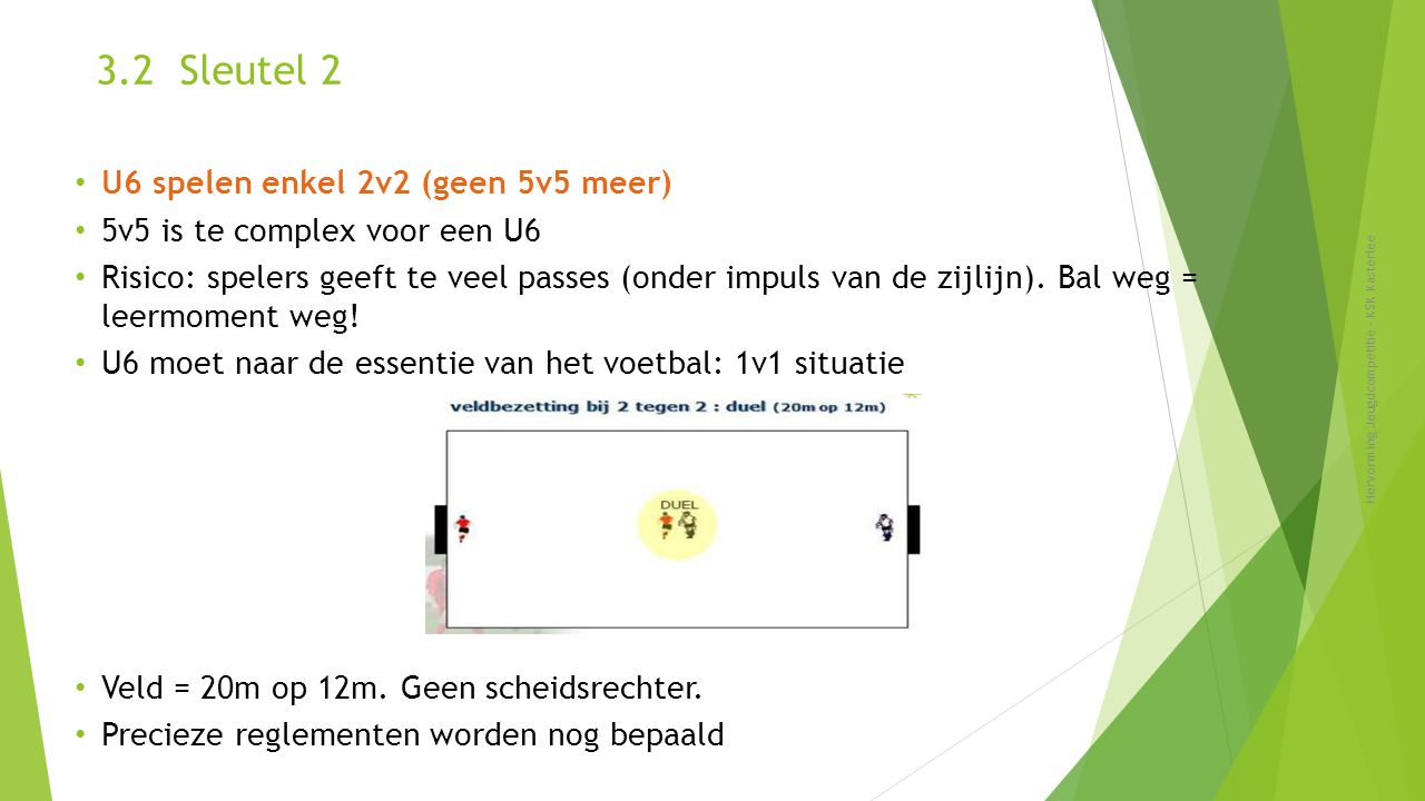 3.2 Sleutel 2 U6 spelen enkel 2v2 (geen 5v5 meer)