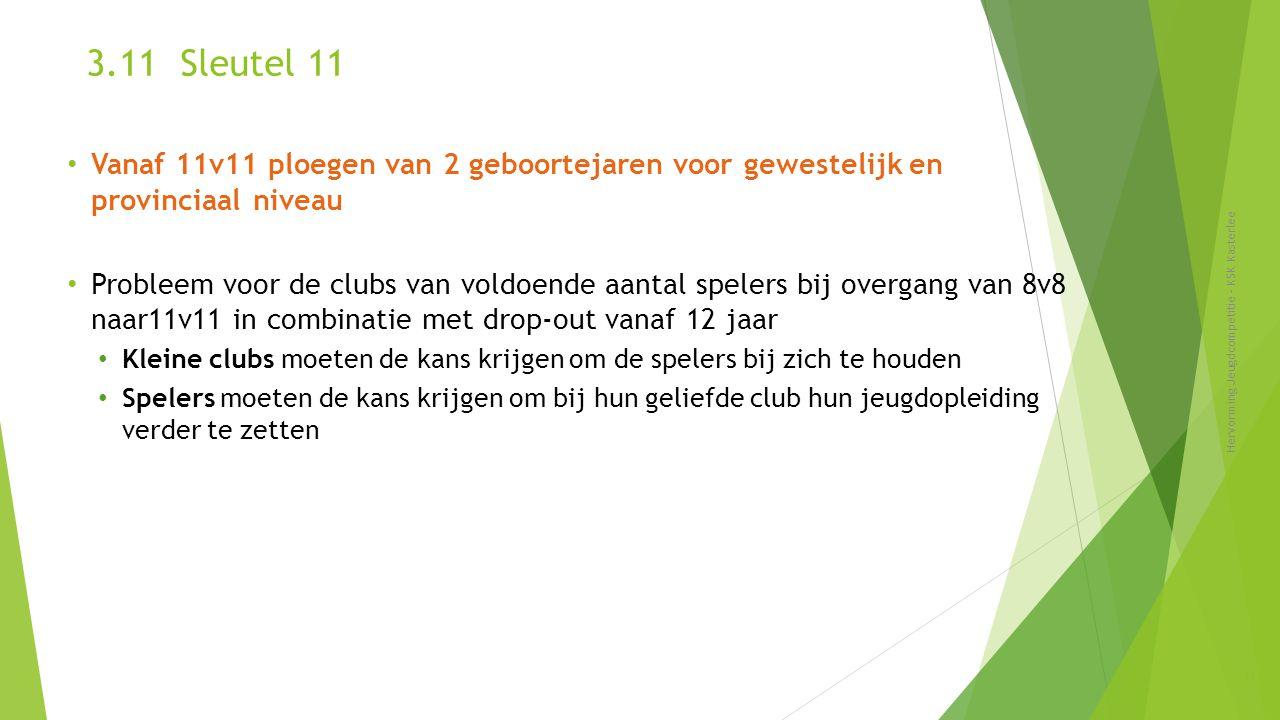 3.11 Sleutel 11 Vanaf 11v11 ploegen van 2 geboortejaren voor gewestelijk en provinciaal niveau.