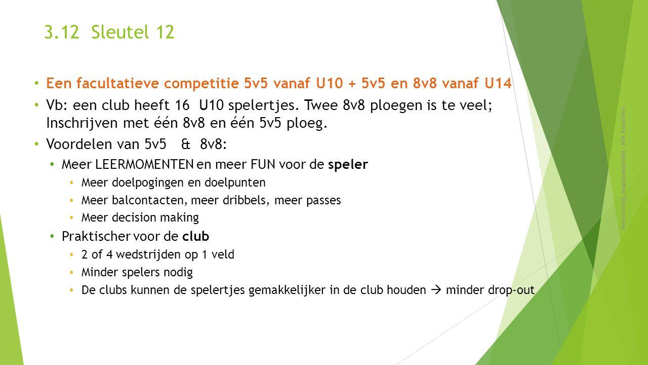 3.12 Sleutel 12 Een facultatieve competitie 5v5 vanaf U10 + 5v5 en 8v8 vanaf U14.