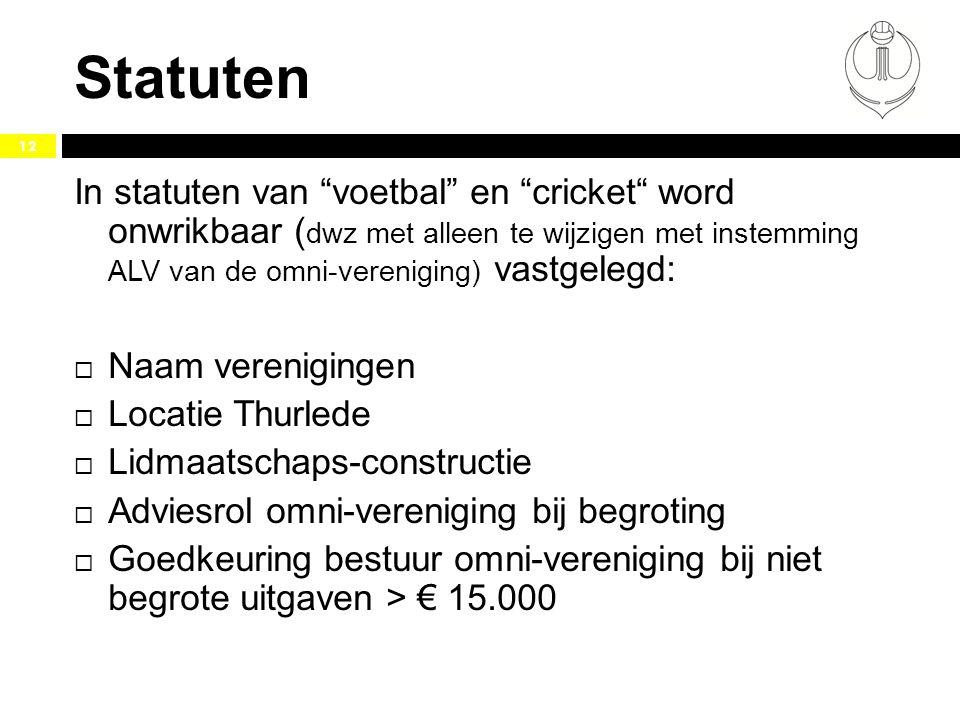 Statuten In statuten van voetbal en cricket word onwrikbaar (dwz met alleen te wijzigen met instemming ALV van de omni-vereniging) vastgelegd: