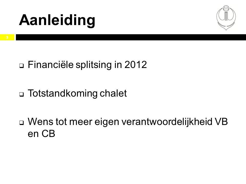 Aanleiding Financiële splitsing in 2012 Totstandkoming chalet