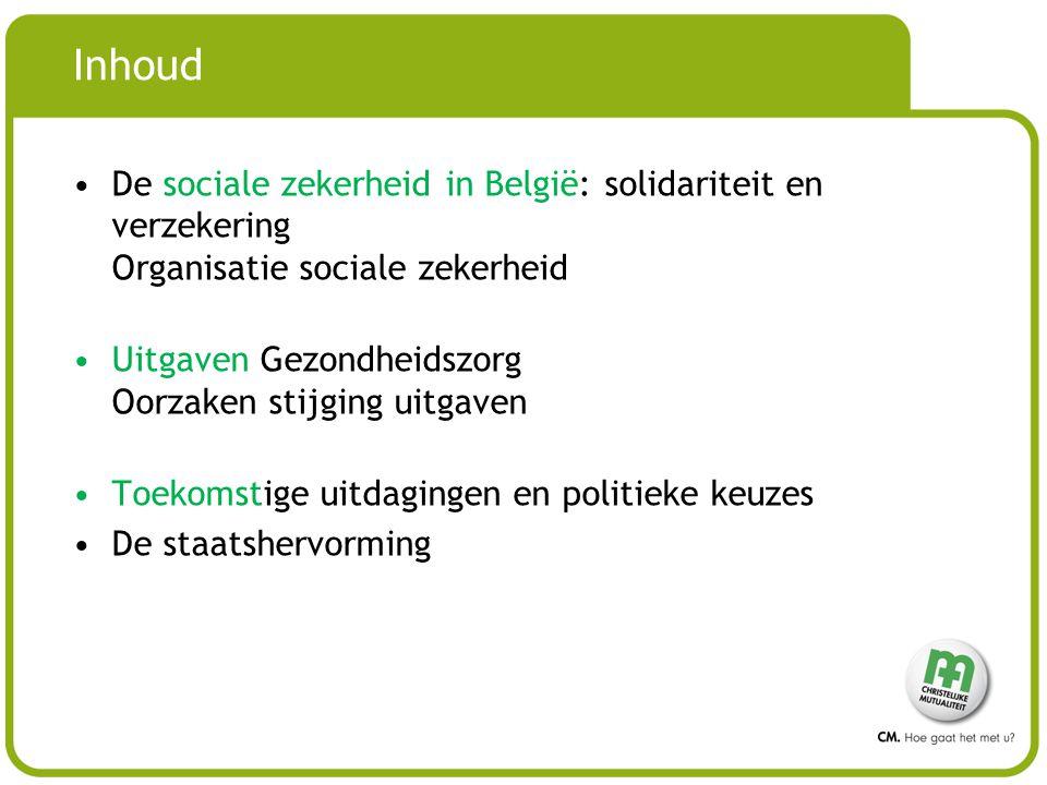 Inhoud De sociale zekerheid in België: solidariteit en verzekering Organisatie sociale zekerheid.