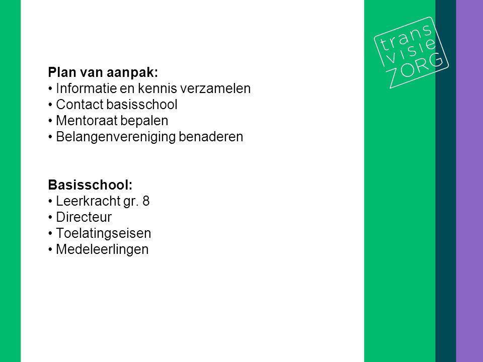 Plan van aanpak: Informatie en kennis verzamelen. Contact basisschool. Mentoraat bepalen. Belangenvereniging benaderen.