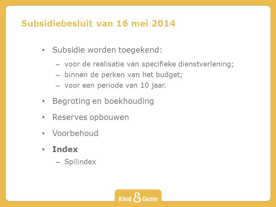 Subsidiebesluit van 16 mei 2014