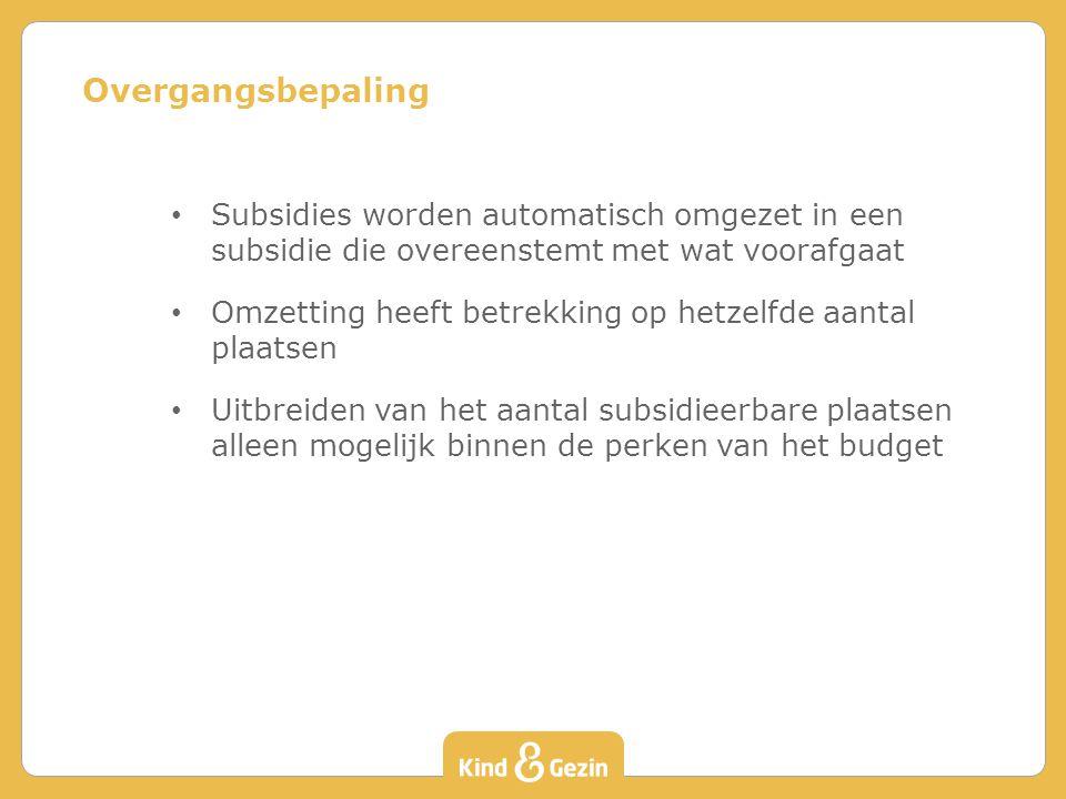 Overgangsbepaling Subsidies worden automatisch omgezet in een subsidie die overeenstemt met wat voorafgaat.