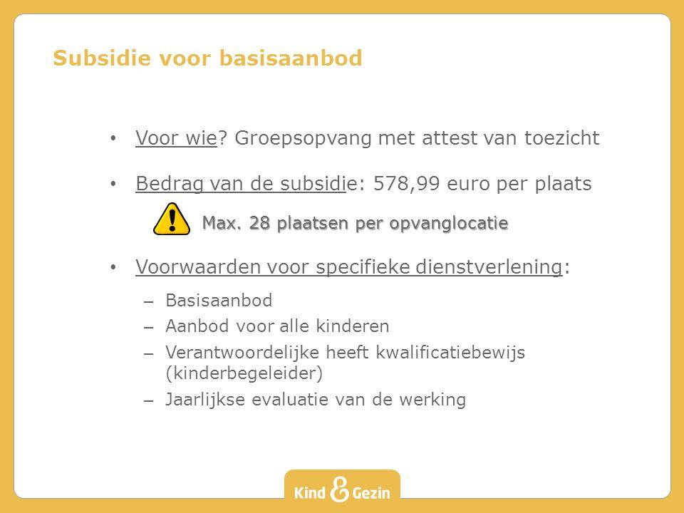 Subsidie voor basisaanbod