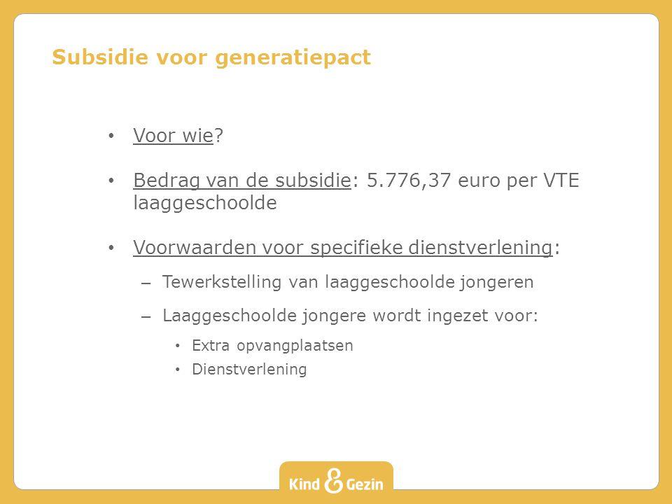 Subsidie voor generatiepact