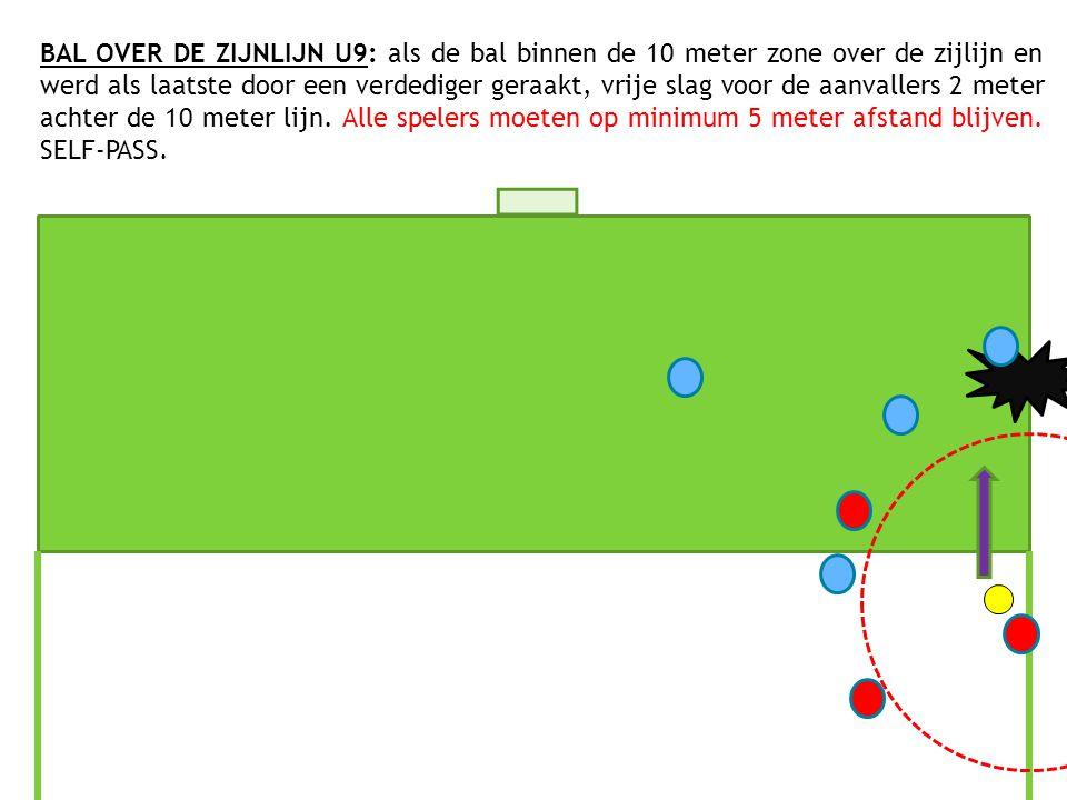 BAL OVER DE ZIJNLIJN U9: als de bal binnen de 10 meter zone over de zijlijn en werd als laatste door een verdediger geraakt, vrije slag voor de aanvallers 2 meter achter de 10 meter lijn.