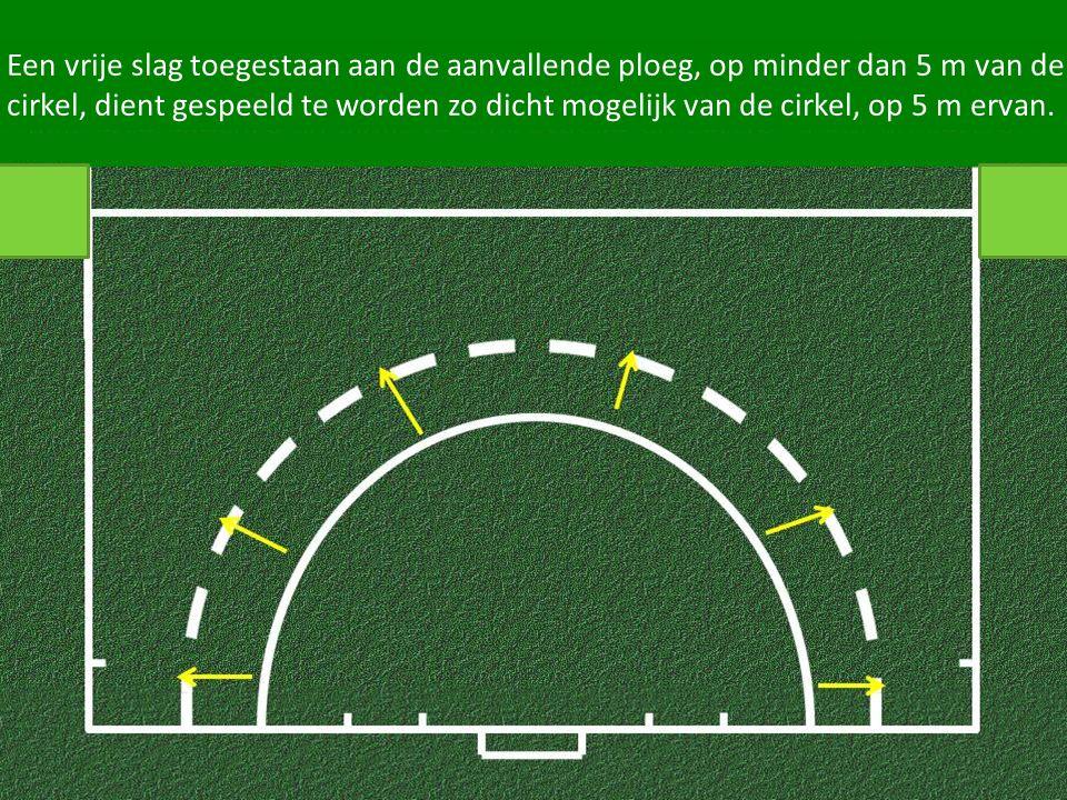 Een vrije slag toegestaan aan de aanvallende ploeg, op minder dan 5 m van de cirkel, dient gespeeld te worden zo dicht mogelijk van de cirkel, op 5 m ervan.