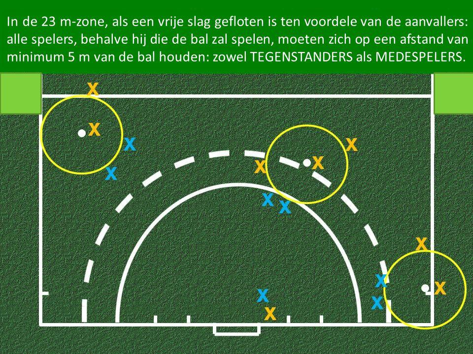In de 23 m-zone, als een vrije slag gefloten is ten voordele van de aanvallers: alle spelers, behalve hij die de bal zal spelen, moeten zich op een afstand van minimum 5 m van de bal houden: zowel TEGENSTANDERS als MEDESPELERS.