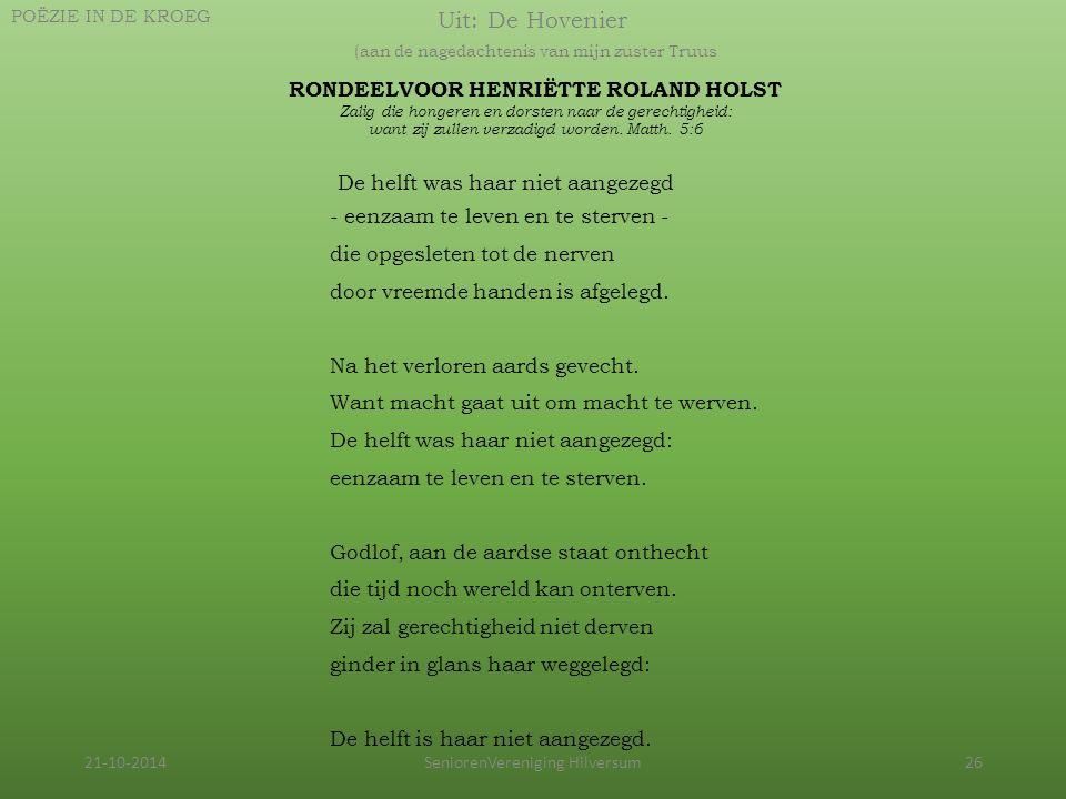 RONDEELVOOR HENRIËTTE ROLAND HOLST