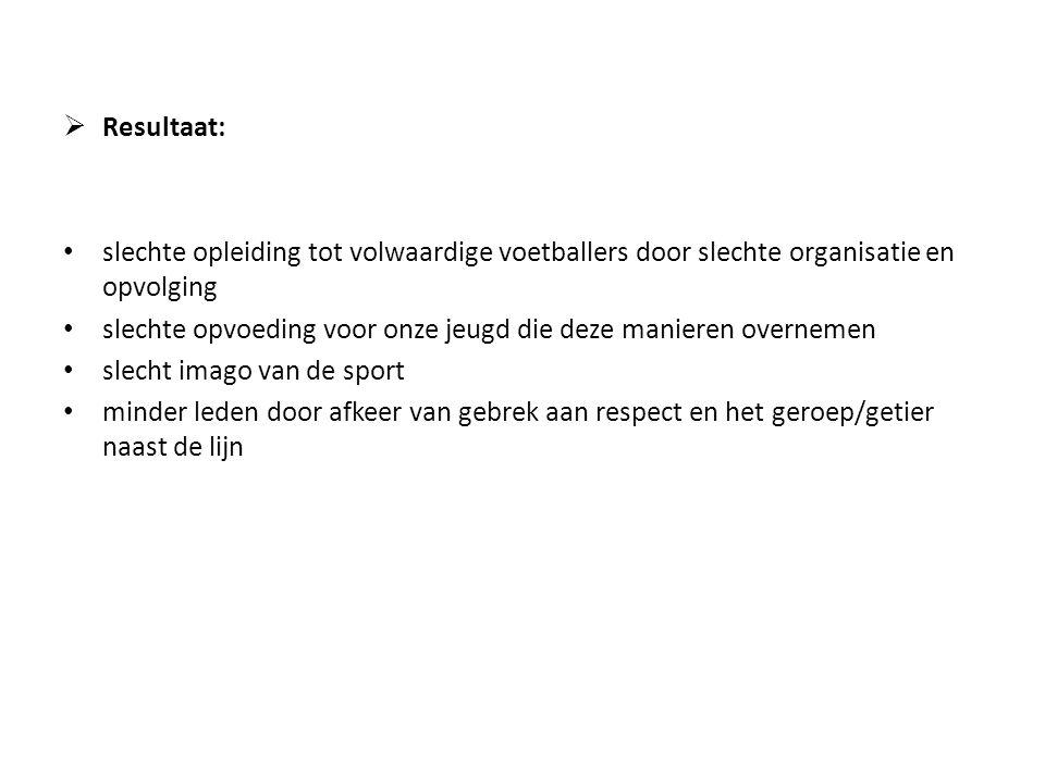 Resultaat: slechte opleiding tot volwaardige voetballers door slechte organisatie en opvolging.