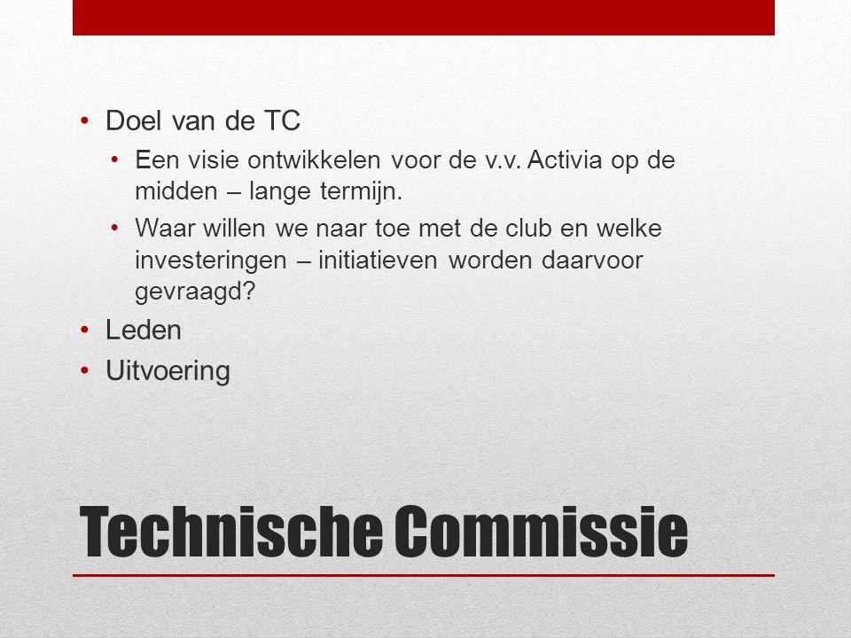 Technische Commissie Doel van de TC Leden Uitvoering