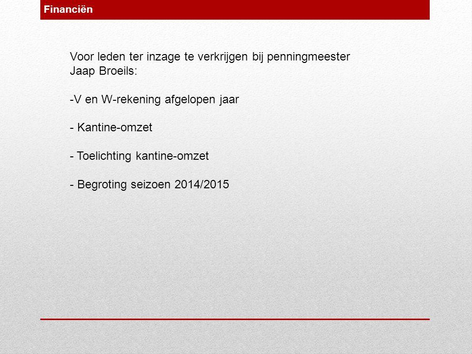Voor leden ter inzage te verkrijgen bij penningmeester Jaap Broeils: