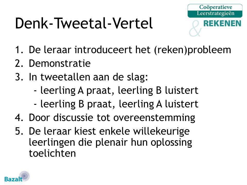 Denk-Tweetal-Vertel De leraar introduceert het (reken)probleem