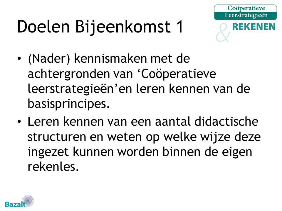 Doelen Bijeenkomst 1 (Nader) kennismaken met de achtergronden van 'Coöperatieve leerstrategieën'en leren kennen van de basisprincipes.