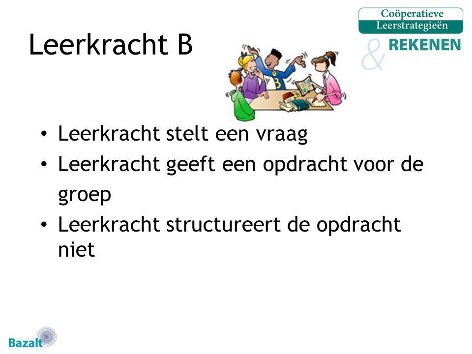 Leerkracht B Leerkracht stelt een vraag