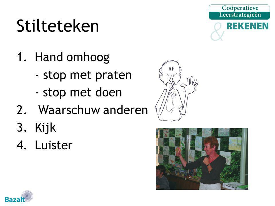 Stilteteken Hand omhoog - stop met praten - stop met doen