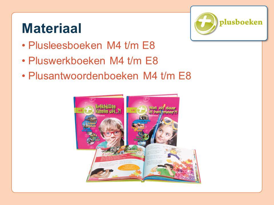 Materiaal • Plusleesboeken M4 t/m E8 • Pluswerkboeken M4 t/m E8