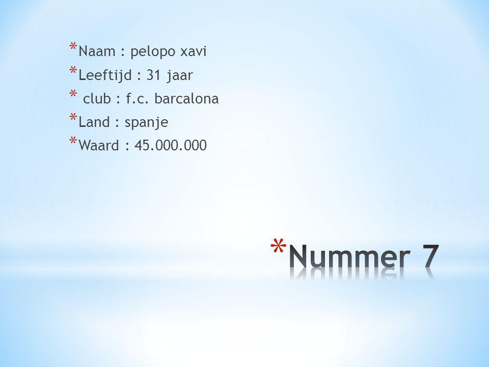 Nummer 7 Naam : pelopo xavi Leeftijd : 31 jaar club : f.c. barcalona