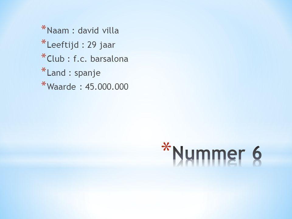 Nummer 6 Naam : david villa Leeftijd : 29 jaar Club : f.c. barsalona