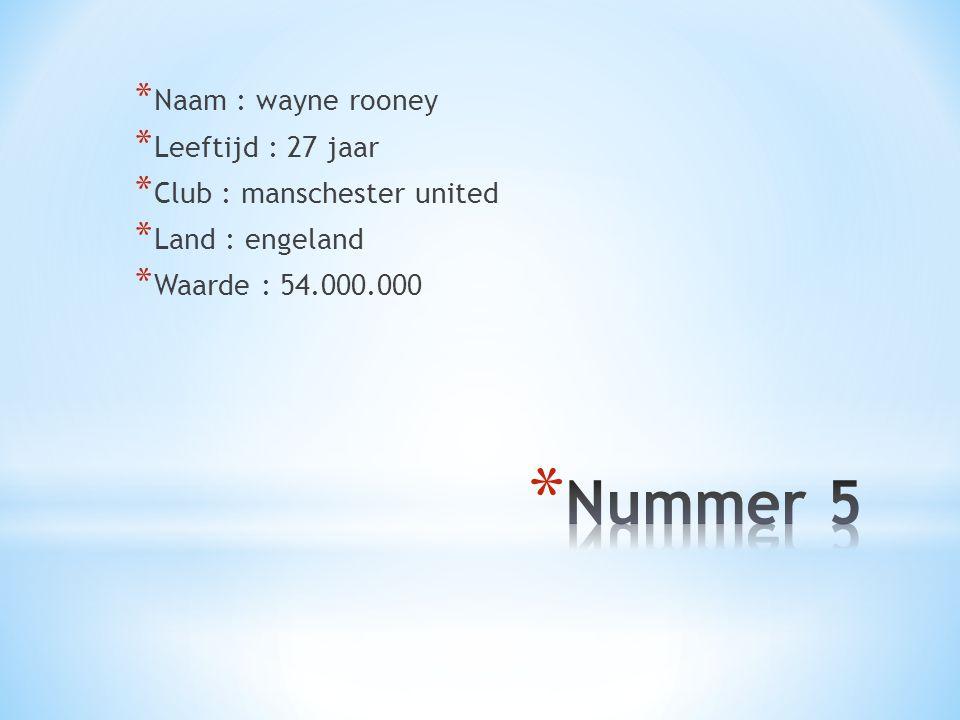 Nummer 5 Naam : wayne rooney Leeftijd : 27 jaar