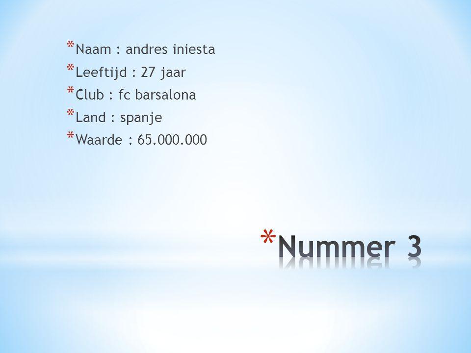Nummer 3 Naam : andres iniesta Leeftijd : 27 jaar Club : fc barsalona