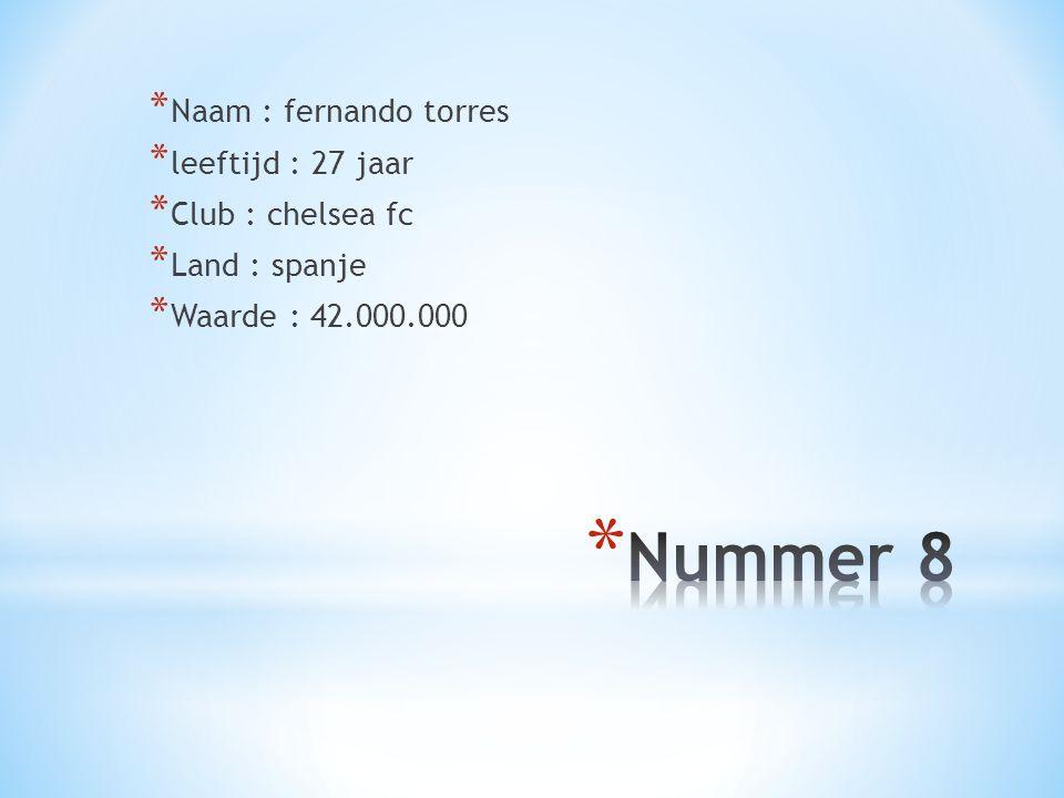 Nummer 8 Naam : fernando torres leeftijd : 27 jaar Club : chelsea fc