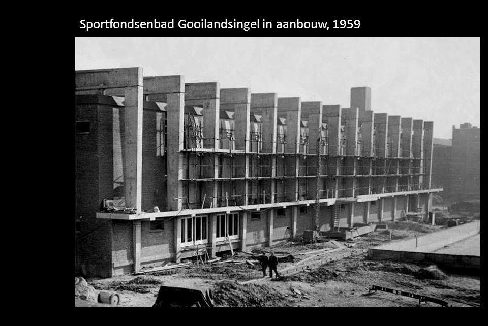 Sportfondsenbad Gooilandsingel in aanbouw, 1959