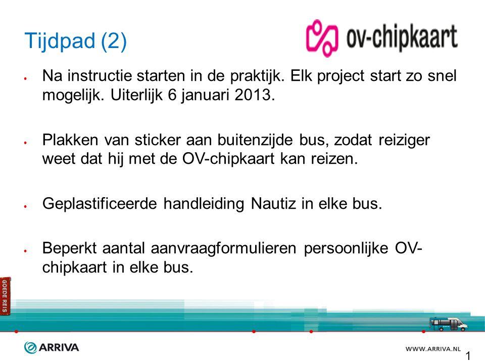 Tijdpad (2) Na instructie starten in de praktijk. Elk project start zo snel mogelijk. Uiterlijk 6 januari 2013.