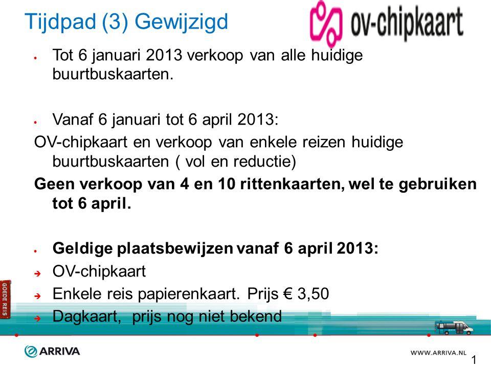 Tijdpad (3) Gewijzigd Tot 6 januari 2013 verkoop van alle huidige buurtbuskaarten. Vanaf 6 januari tot 6 april 2013: