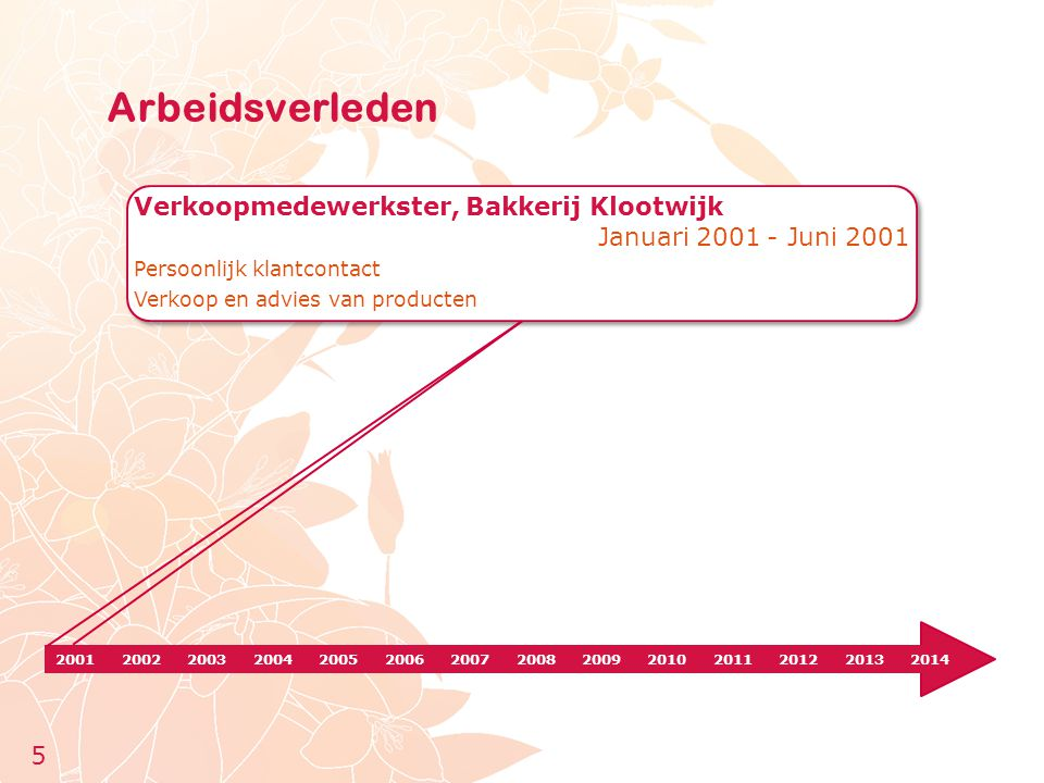 Arbeidsverleden Verkoopmedewerkster, Bakkerij Klootwijk