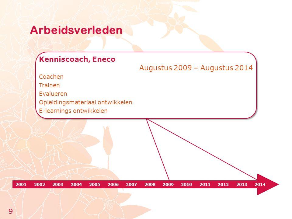 Arbeidsverleden Kenniscoach, Eneco Augustus 2009 – Augustus 2014 9