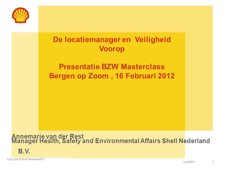 De locatiemanager en Veiligheid Voorop Presentatie BZW Masterclass Bergen op Zoom , 16 Februari 2012