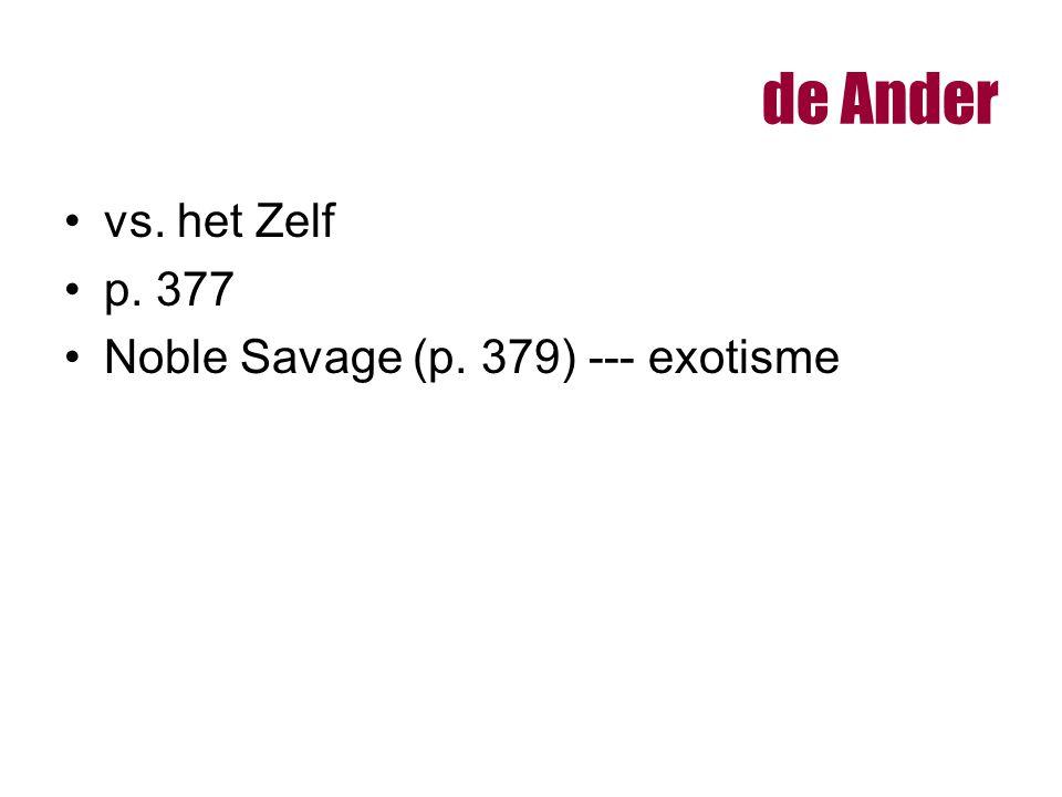 de Ander vs. het Zelf p. 377 Noble Savage (p. 379) --- exotisme
