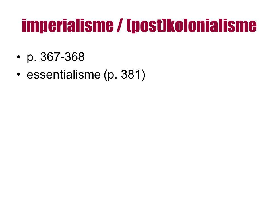 imperialisme / (post)kolonialisme