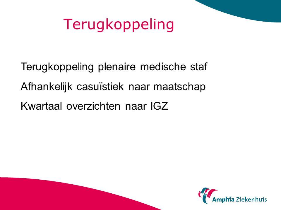 Terugkoppeling Terugkoppeling plenaire medische staf