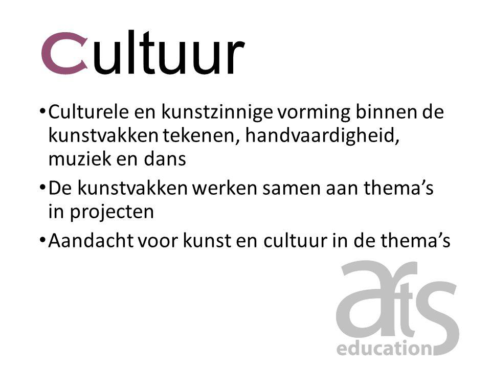 Cultuur Culturele en kunstzinnige vorming binnen de kunstvakken tekenen, handvaardigheid, muziek en dans.