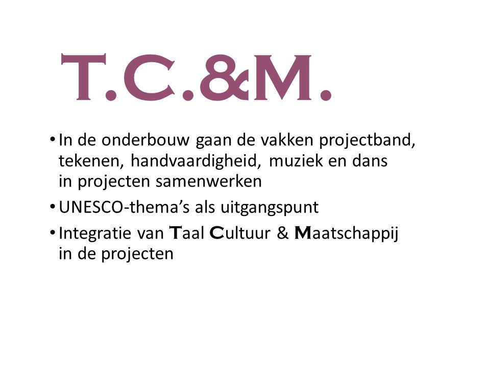 T.C.&M. In de onderbouw gaan de vakken projectband, tekenen, handvaardigheid, muziek en dans in projecten samenwerken.