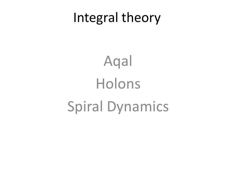 Aqal Holons Spiral Dynamics
