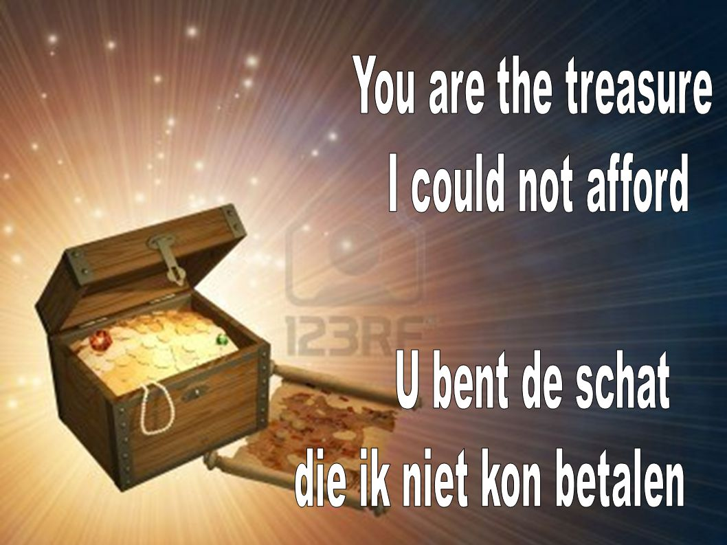 You are the treasure I could not afford U bent de schat die ik niet kon betalen