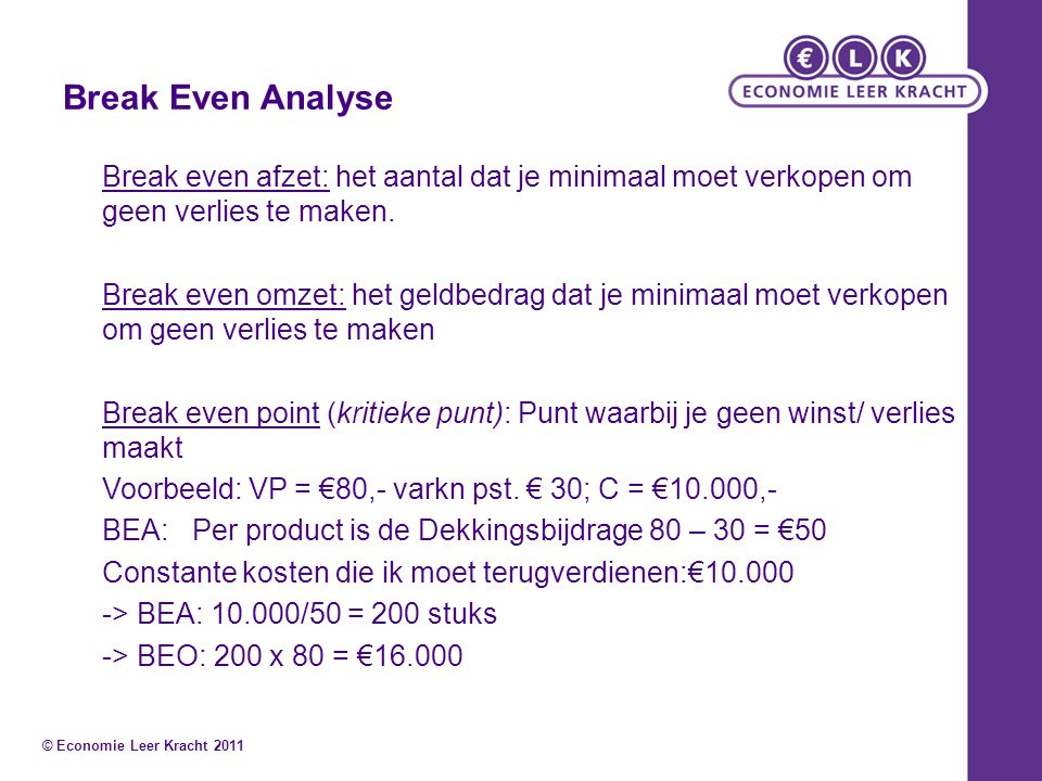 Break Even Analyse