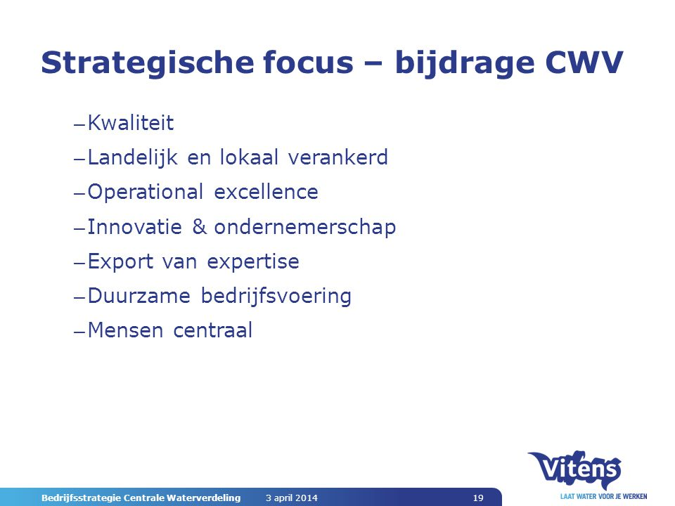 Strategische focus – bijdrage CWV